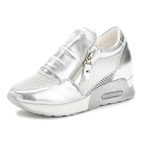 Damen Flache Sneaker Mit Atmungsaktive Netz-Oberfläche Und Unsichtbar Aufzug Kurzschaft Reißverschluss Frühling Schuhe Silber