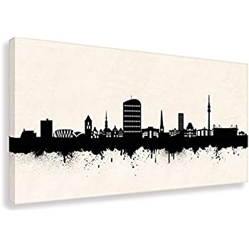 kunst druck auf leinwand skyline dortmund sw div gr en bild fertig auf keilrahmen. Black Bedroom Furniture Sets. Home Design Ideas