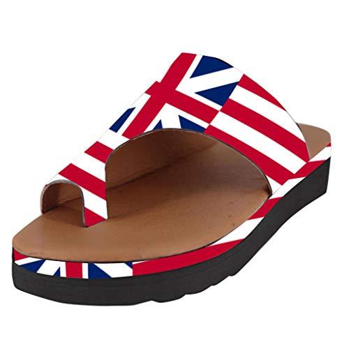 MDenker Vintage Lady Flag Bedruckte Zehensandalen und Hausschuhe mit dicken Sohlen Damenmode Wohnungen Flip Flops Schuhe Damen Hausschuhe Strand römischen Sandalen Baker Usa-sweatshirt