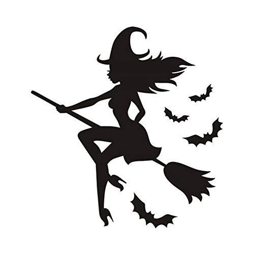 Wandtattoo Kreative Holzkohle Halloween Hexe Wandaufkleber Halloween Schönheit Auto reflektierende Aufkleber schöne Aufkleber Besen Hexe weibliche Gil Auto Aufkleber Magic Car reflektierende Aufkleber -