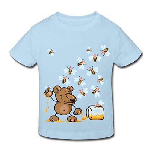 Spreadshirt Bärchen Stiehlt Honig Von Bienen Kinder Bio-T-Shirt, 110/116 (5-6 Jahre), Hellblau