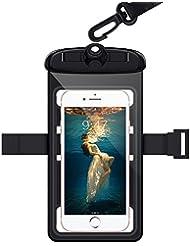 WorCord Funda Impermeable Móvil Universal 6.3 Pulgadas [Triple Protección] Impermeable Bolsas Secas, Contener Acollador y Brazalete los Deportes al Aire Libre como Nadar, hacer Surf,Esquí, Compatible para Iphone, Samsung y más Smartphones - Negro
