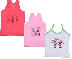 IndiWeaves Girls Pure Cotton Cartoon Print Slips/Vests (Pack of 3)_Multiple_12-14 Years