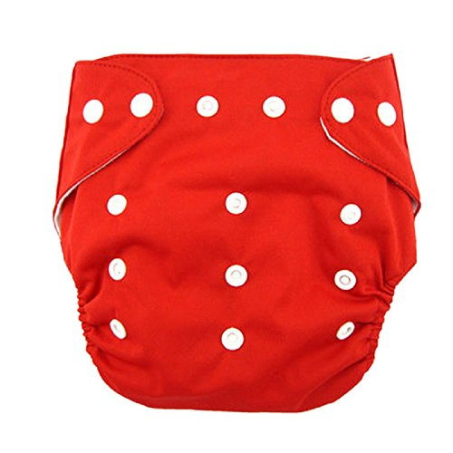 Culotte d'apprentissage Coton pour Bébé Garçon,Sensail Bébé Tissu Couches Couche Sur un pantalon couche Culotte d'entrainement reglables Réutilisables (Rouge, Taille unique)