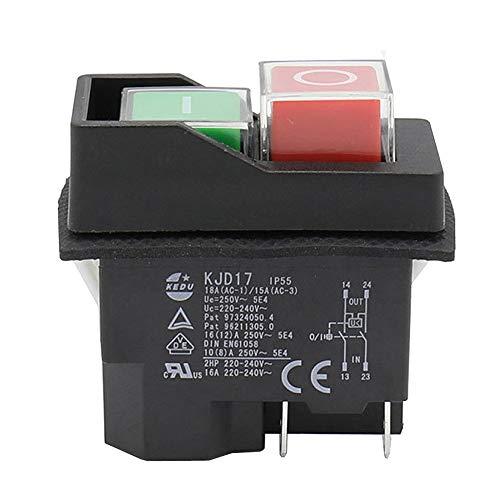 KEDU KJD17 Interruptor Electromagnético Impermeable Pulsador 4 Pin AC250V 16A Arranque Magnético Herramienta de Alimentación Interruptores de Seguridad para Máquina