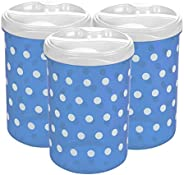 Pratap Plastic Polka Design HF 3piece Container Set, Blue, 2.2liter