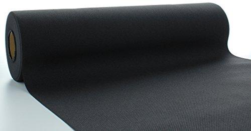 Sovie HORECA Linclass® Airlaid Tischläufer 40 cm x 24 m | Tischdecken-Rolle stoffähnlich | praktische Einmal-Tischdecke für Hochzeit oder Partys | Schwarz (Papier Rollen Schwarze Tischdecken)