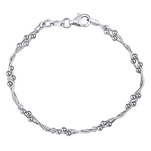 Silber Armband mit Kugeln Doppelte Kette 925 Sterling Silber