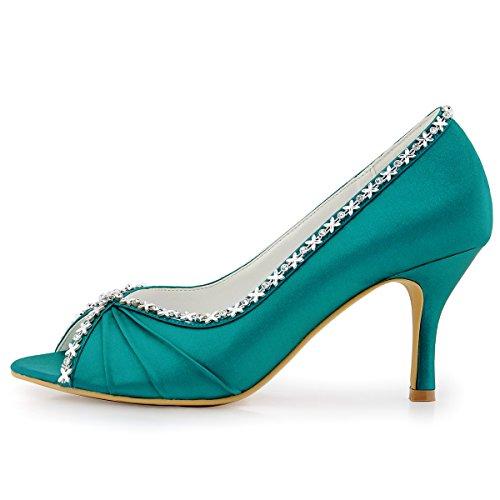 Elegantpark EP2094 Bout Ouvert Crinklinge Satin Pompes Moyen Talon Femmes Soiree Chaussures de Mariee Teal