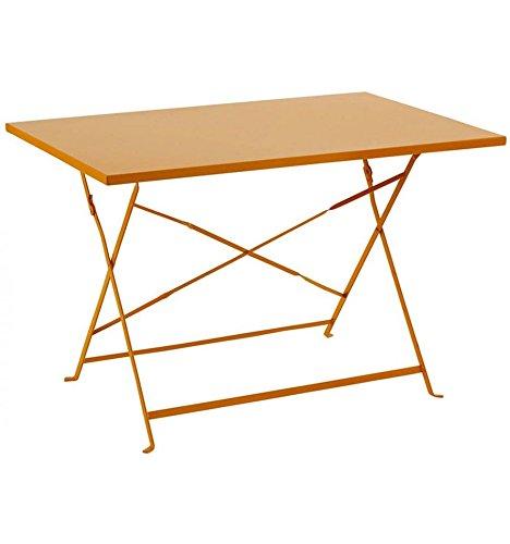 Table de jardin pliante rectangle 110 X 70 cm en acier traité époxy Coloris MANDARINE de très belle qualité