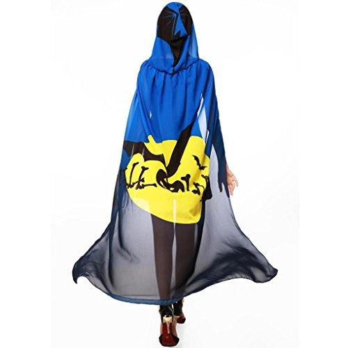 HLHN Halloween Party Kapuzen Umhang, Kürbis Druck Hexe Zauberer Chiffon Karneval Fasching Kostüm Cape mit Kapuze (Blau) (Jugend Mädchen Halloween Kostüme)