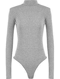 adedbc4f641612 Womens Ladies Plain Long Sleeve Turtle Polo Neck Bodysuit Leotard Top UK  8-24