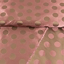Tela de satén jacquard, lunares, rosa viejo, para mujer, con lunares, 0,5 metros