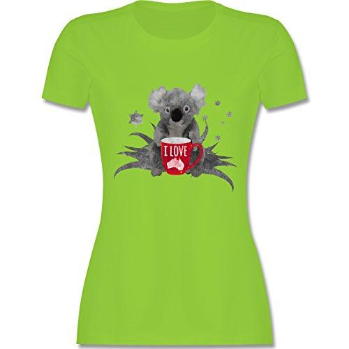 Kontinente - I love Australien Koala - tailliertes Premium T-Shirt mit Rundhalsausschnitt für Damen Hellgrün