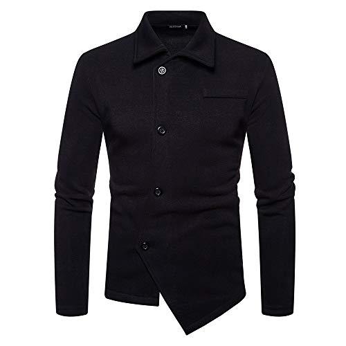 Sannysis Herren Slim Fit Pullover Mantel Herbst Winter Solide Unregelmäßige Langarm Shirt Jacke Top Bluse