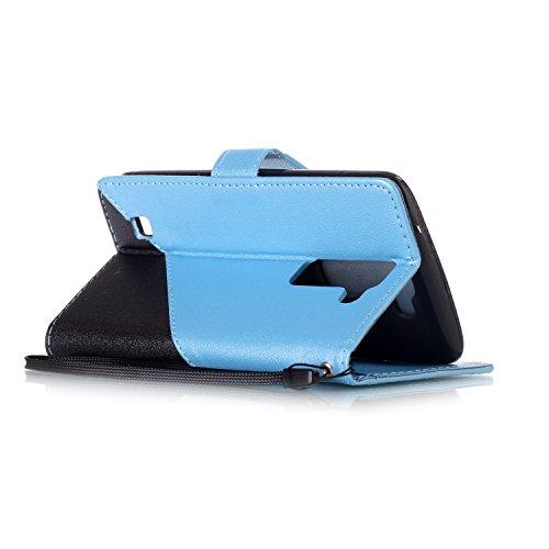 Coque LG K7, Aeeque® Housse Étui en PU Cuir Bumper Flip Cover Bookstyle Support Cartes Slots Joli Fleur de Paon Bleu Ultra Mince Léger Fermeture Aimantée Étui pour LG K7 Noir et Bleu Clair