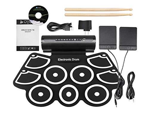 Batería Electrónica Drum Kit USB Espesar Silicona Parlantes Duales Incorporados En Metrónomo Drum...
