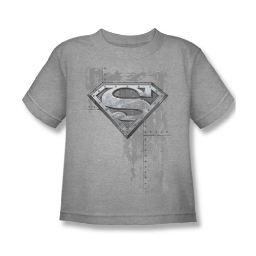 Superman - Genietete Metallschild Juvy T-Shirt in Heather, Medium (5/6), Heather (Juvy T-shirt Heather)