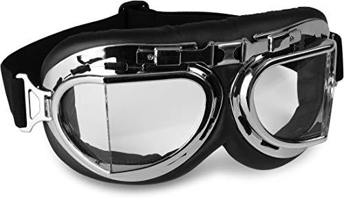 Storfisk fishing & more Motorradbrille Schutzbrille gegen Wind Fliegerbrille, gepolstert, abgewinkelte Gläser, verstellbares und elastisches Kopfband, Farbe :Silber - Abgewinkelte Glas