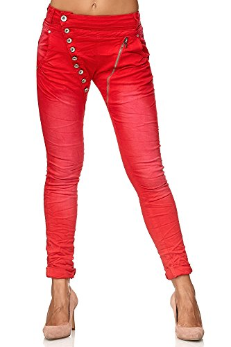 Elara Damen Jeans | Knopfleiste | Reißverschluss | Chunkyrayan C613K-24 Red 38/M