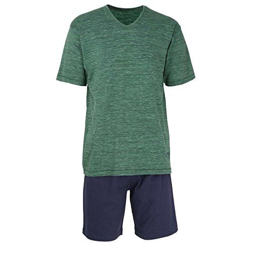 TOM TAILOR Underwear Herren Shorty, V-Ausschn. Zweiteiliger Schlafanzug, Grün (Green Multicolored 8550), Medium (Herstellergröße: 50/M) -
