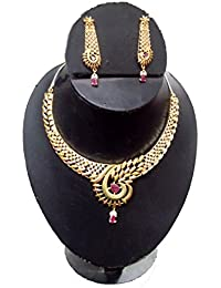 Ziory Gold Plated Colorful Designer American Diamond Ethnic Traditional Necklace Set (ad Jewellery Set) With Earrings...
