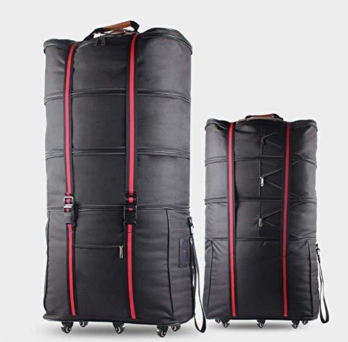 ZXY Riesen Reisetasche mit 6 Rollen Rollenreisetasche 100cm (Neues Upgrade),Schwarz -