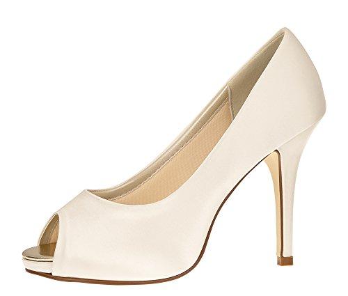 huhe Jerney - Pumps High Heels - Peep Toe Ivory Satin - Gr 38 EU 5 UK (Braut High Heels)