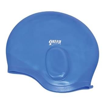 Silikon Badekappe für Erwachsene Bademütze mit Ohrenschutz Badehaube Unisex , Farbe: Blau, Größe: Einheitsgröße