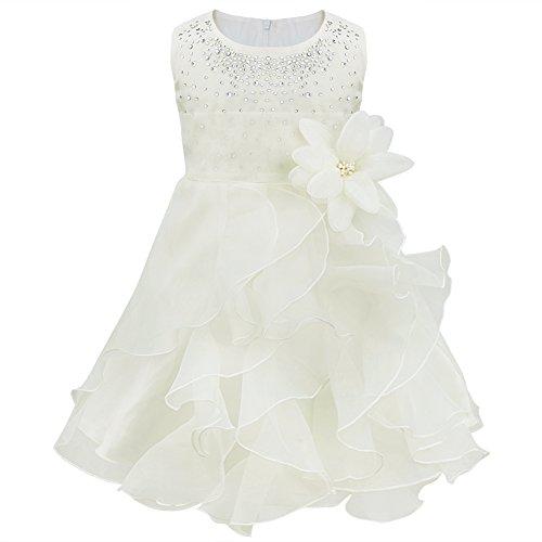 YiZYiF Baby Kinder Mädchen Kleid festlich Brautjungfern Party Festzug Hochzeit Kleidung Gr. 62-98 (62-68, Elfenbein)