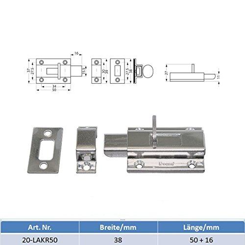 MARETEAM® Schubriegel Edelstahl poliert 50 + 16 mm