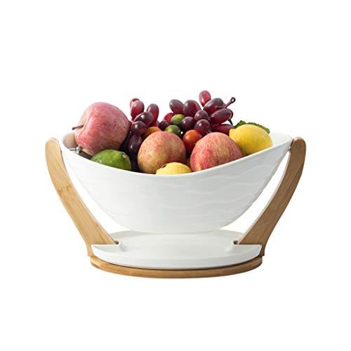 Obstschale Obstteller Keramik Obstschale Europäischer Stil Modern Wohnzimmer Haushalt Einfach Früchtekorb Bambussockel Obstteller