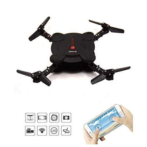 LHI Quadcopter Drone with FPV Camera and Live Video - Subservient Foldable Aerofoils - App and Wifi Phone Lodestar UAV- Camera Altitude Run At the bang wee Topmost RC Quacopter RTF (Knavish)