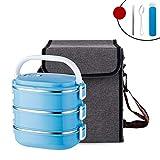 JINRU Lebensmittelbehälter Quadrat Kunststoff Mit Tasche Geschirr Set 304 Edelstahl Thermobento Lunchbox Tragbare Schulkinder,SkyBlue,3