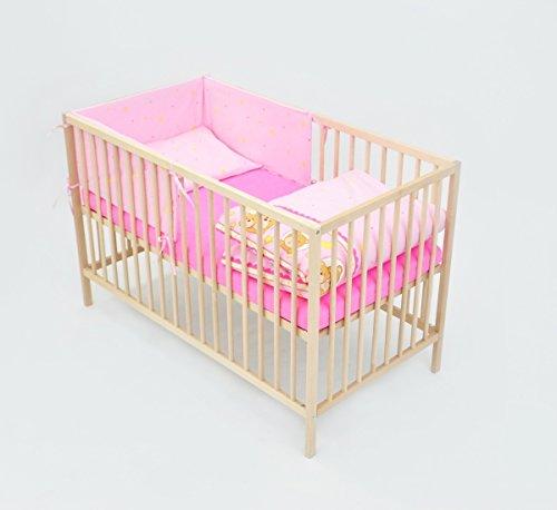Velinda 6-tlg. Baby-Bettwäsche-Set Bettzeug Bettbezug Bettgarnitur für Babybett 120x60 (Muster: Gute Nacht Teddys_Rosa)