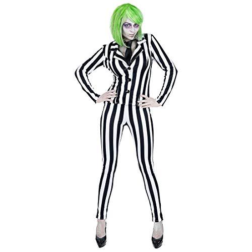 Amakando Gestreifter Hosenanzug Geist / Schwarz-Weiß in Größe S (34/36) / Enganliegendes Damen-Kostüm Joker / Passend gekleidet zu Fasching & Karneval (Joker Kostüm Schwarz Anzug)