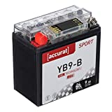 Accurat Motorradbatterie YB9-B 9Ah 90A 12V Gel Starterbatterie mit LCD Display in Erstausrüsterqualität rüttelfest leistungsstark wartungsfrei