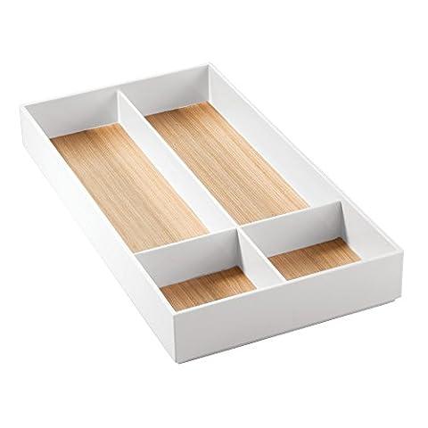 Interdesign 93391EU Realwood Rangement de Cosmétiques pour Meuble de Salle de Bain Bois Blanc 40,5 x 20,2 x 4,90 cm