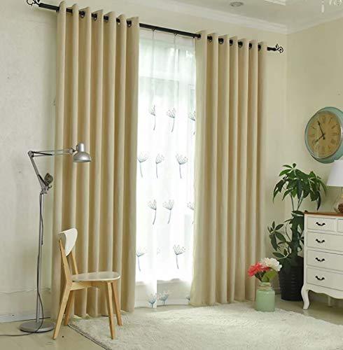 Ljwlzfhq tende soggiorno - cotone di bambù ecologico senza tende solido con formaldeide oscuranti - 100% poliestere - 140cmx245cm (l x h) 2 pezzi color crema