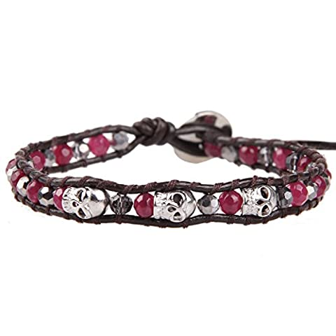 KELITCH January Birthstone Red created-garnet Stone Hematite Bead Skull Charm Wrap Bracelet Leather