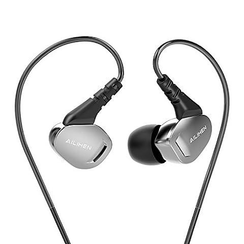 AILIHEN X2 Ecouteurs Audio Filaire avec Micro Intra-auriculaire Isolant du Bruit Stéréo Basses Puissantes pour Smartphone, Tablettes, PC ( Argenté