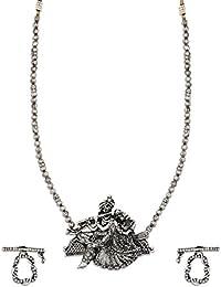Zaveri Pearls Antique Silver Long Radha Krishna Temple Necklace Set For Women-ZPFK6305