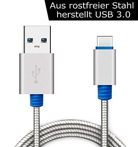 Kingwell USB Typ-C 3.0 Datenkabel (USB Type-C 3.0 data cable) aus rostfreier Edelstahl Datenkabel (3,3 Ft/1M) und Ladekabel für Handy, wie Samsung, Google, Huawei etc, und Tablet mit USB Type-C Stecker, flexibel und bruchfest