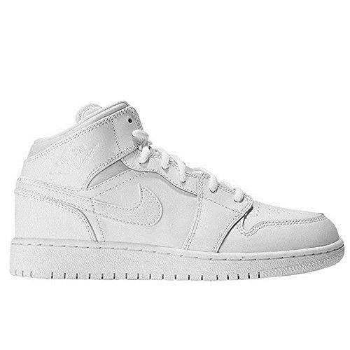 Nike Kinder und Jugendliche Air Jordan 1 Mid BG Basketballschuhe, Weiß (White/Black/White), 40 EU (Jordan Schuhe Weiß)