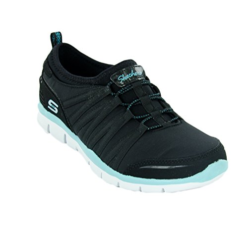 Skechers Gratis shake-it-off, Baskets Basses femme Noir / vert