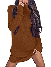 Pull Robe Col Roulé Chandail Femme Hiver Longue Manche Casual Manteau Chandails  Pull-over Manches Longues Sweater Tricot Blouse… 3ed02959dfeb