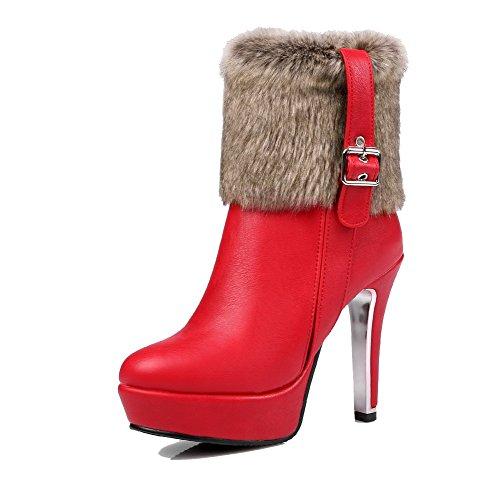 AgooLar Damen Reißverschluss Quadratisch Zehe Hoher Absatz Blend-Materialien Rein Stiefel, Grau, 37