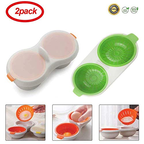 Coogel 2 Pack Egg Poacher Microwave Egg Cooker,Double-Layer Egg Cooker Tableware Baking Cup Cooking Kitchen Accessories (Orange&Green) 2 Egg Poacher