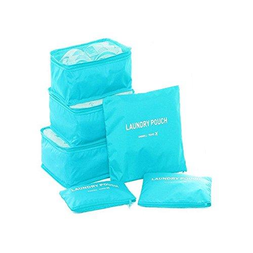 cocogo 6Set da viaggio organizzatori imballaggio cubi Laundry Bag Pouch Per compressione Bagaglio cielo blu Sky blue