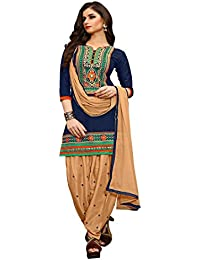 Fkart Women's Blue Embroidered Cotton Semi Stitched Patiala Suit With Dupatta (FK-1012_FREE_SIZE)